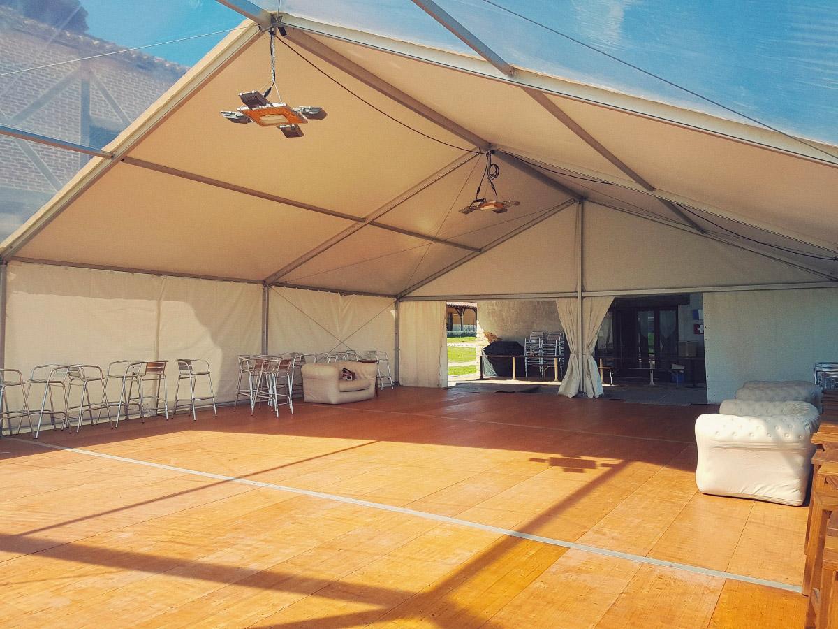 location chapiteau bache cristal 10x15 réception mariage Chris Events