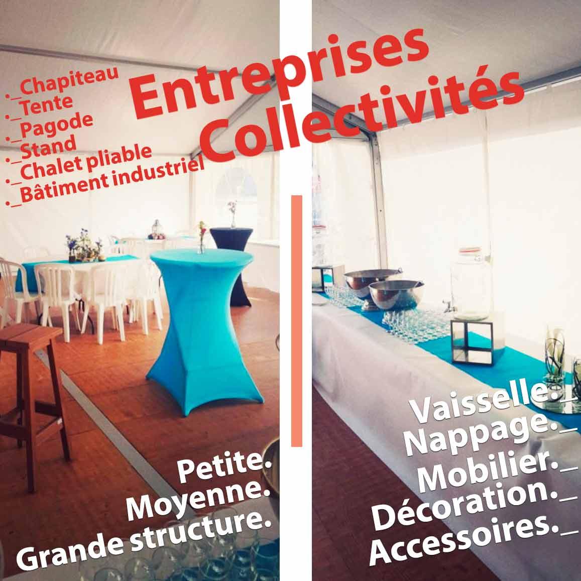 Entreprises et collectivités : structure, mobilier, options à disposition avec Chris Events.